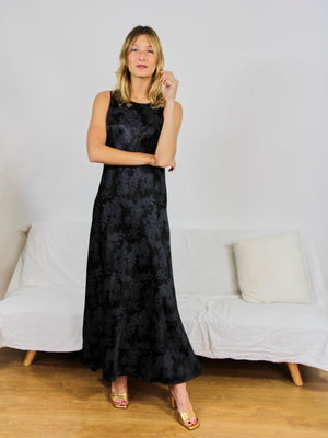 Black Printed Full Length Dress
