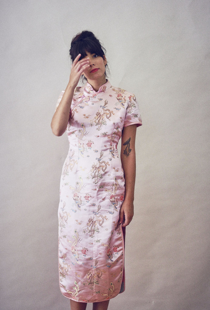 90's Vintage Pale Pink Chinese Embroidered  Dress.