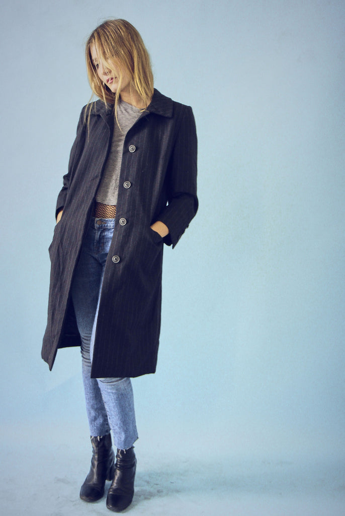 Vintage Wool Grey Pin Stripe Minimalist Coat