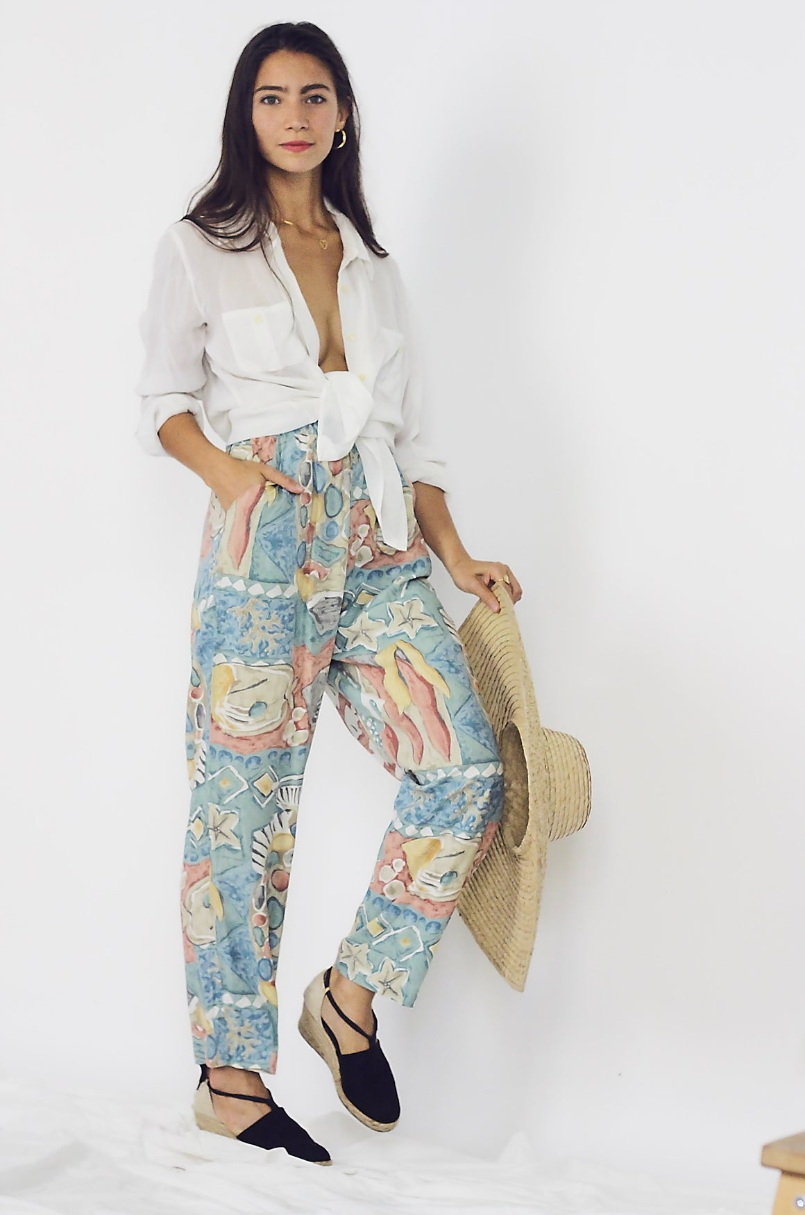 Printed Tapered Summer Trousers