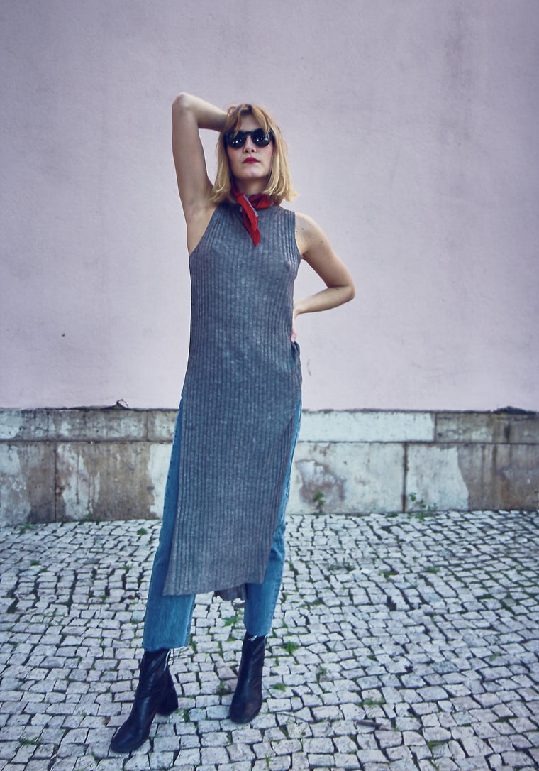 90's Vintage Grey Ribbed Tube Dress.