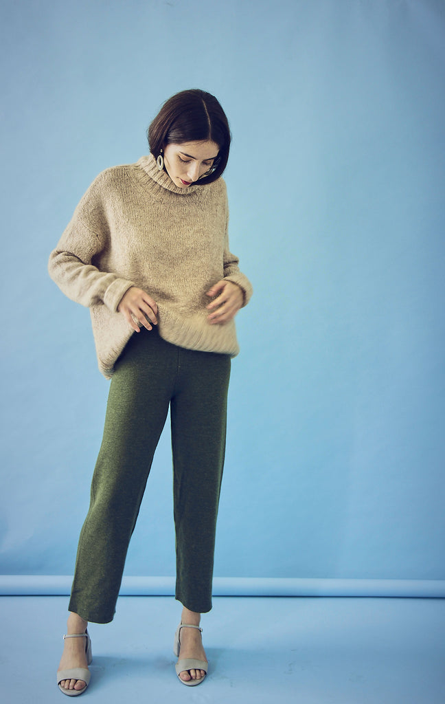 70s Wool Mix Olive Trousers