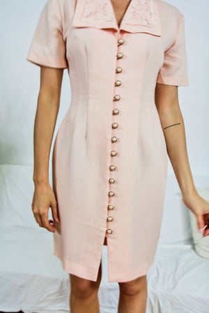 Fitted Blush Button Down Dress