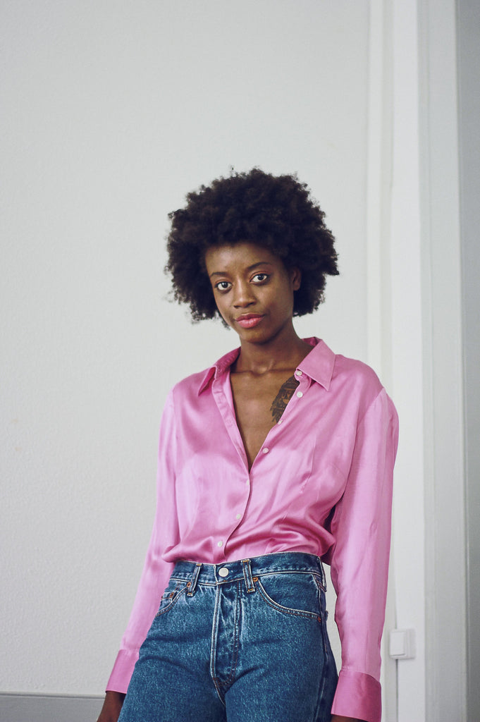Vintage 90s Pink Silk Fitted Shirt