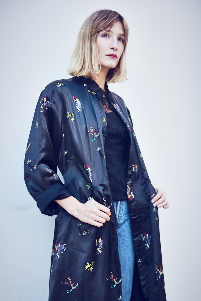Vintage Sateen Embroidered Chinese Duster Jacket