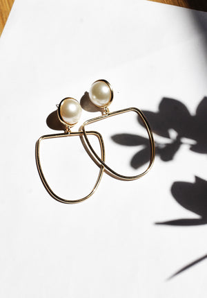 Limited Edition: Faux Pearl Drop Hoop Earrings