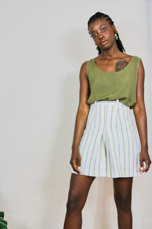 Olive Stripe Pleated  Shorts