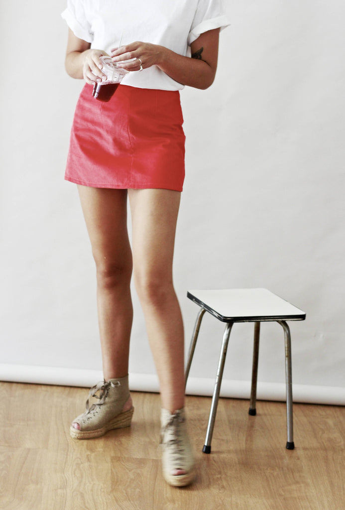 Bay Zip Through Coral Cord Mini Skirt