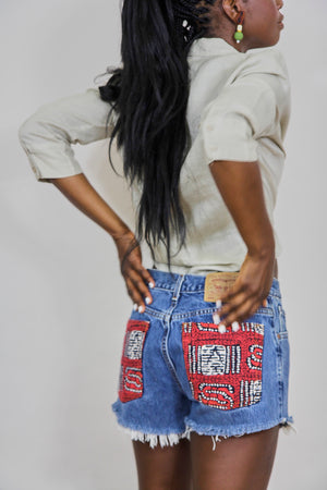 Batik Pocket Levis Cut-Off Shorts