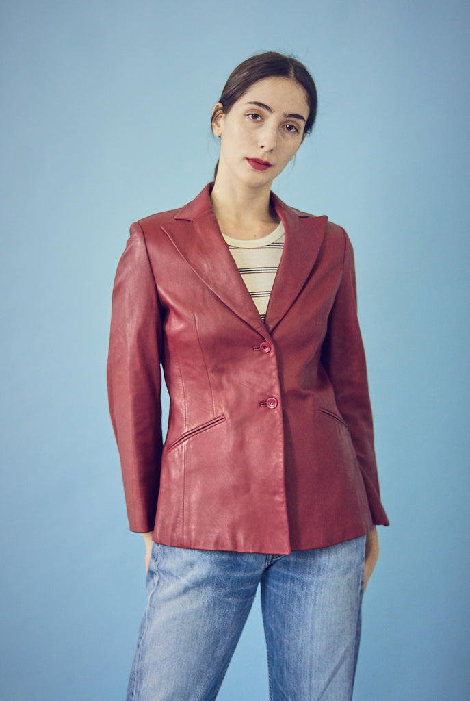 90s Vintage Red Leather Blazer