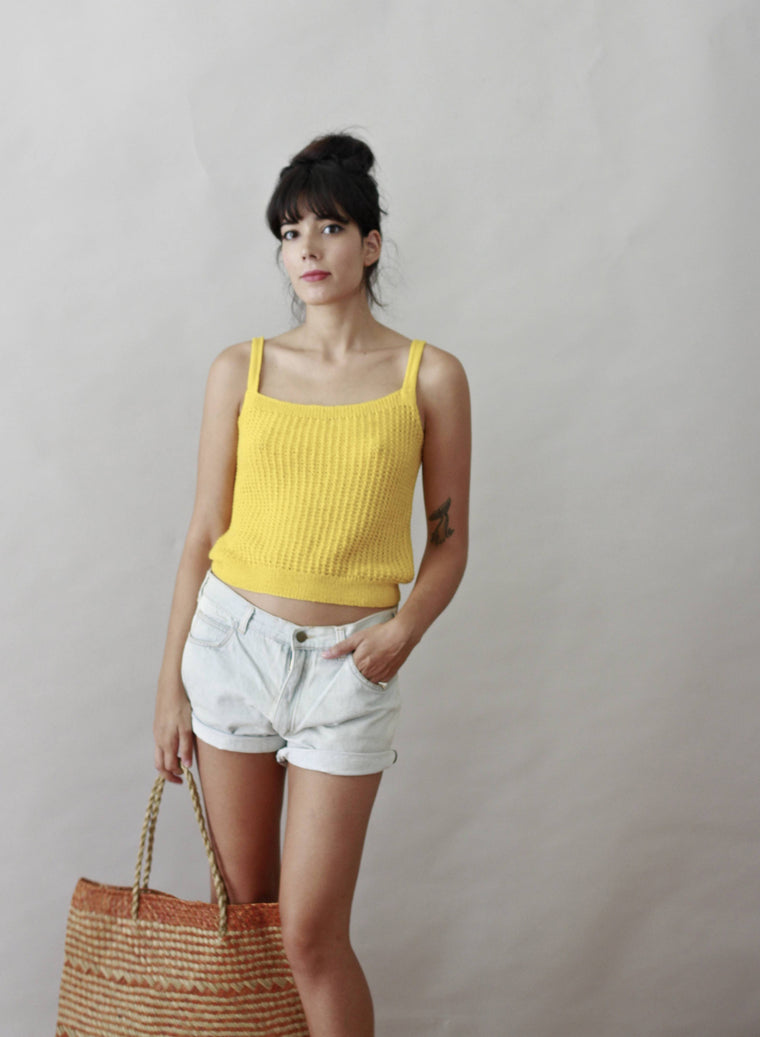 Vintage 70s Knitted Mustard Top