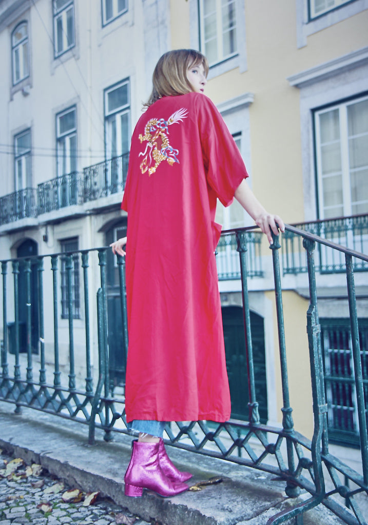 Vintage 90s Red Embroidered Kimono
