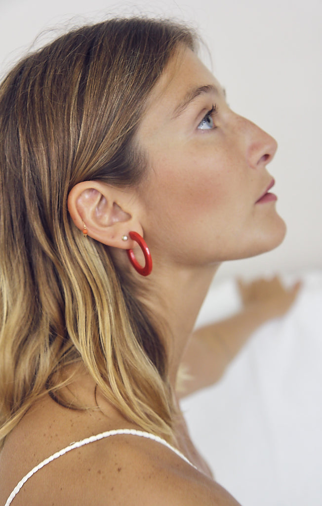 Perspex Moon Red Earrings