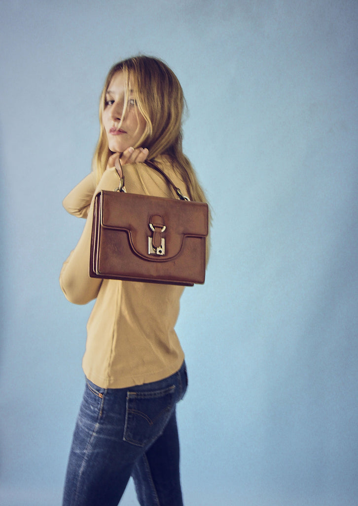 Vintage 70s Tan Leather Handbag