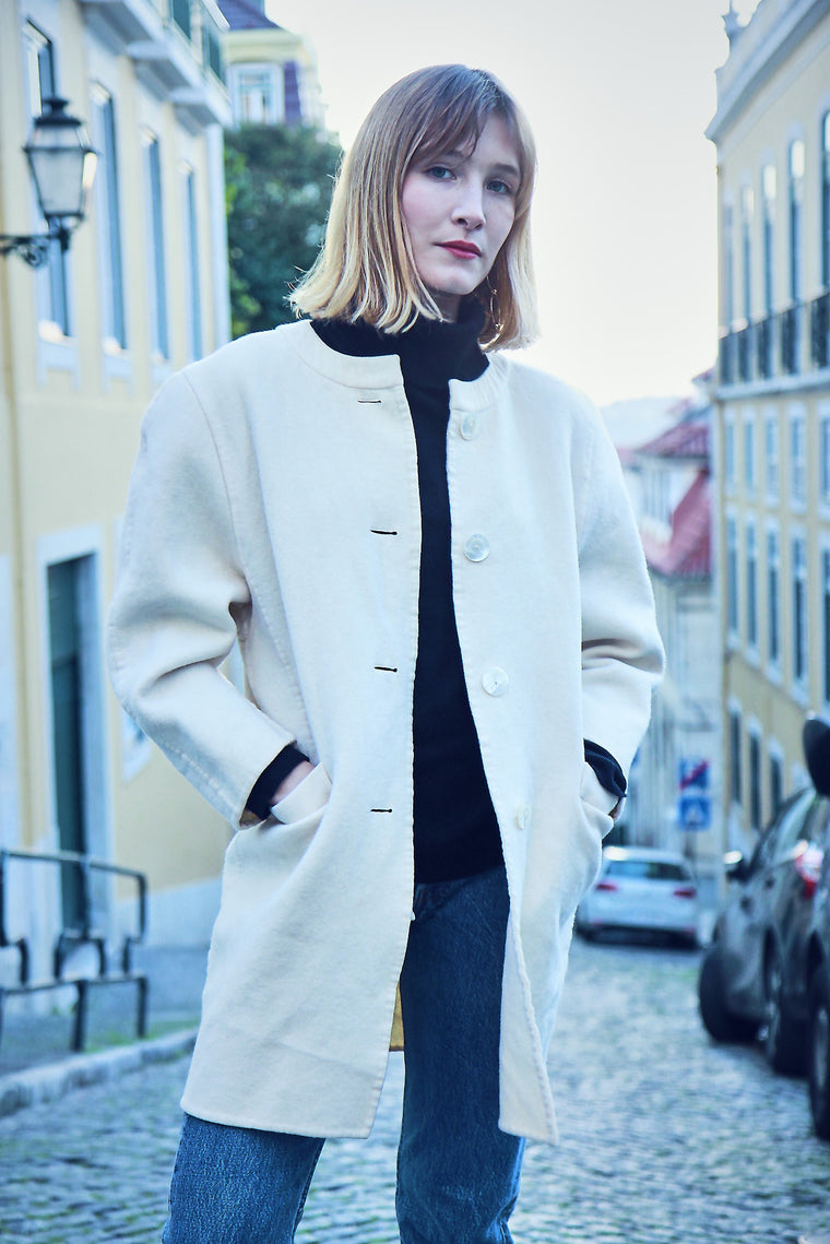 Vintage 90s Wool Cream Coat
