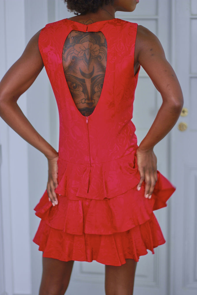 Vintage 80s Red Silk Tiered Dress