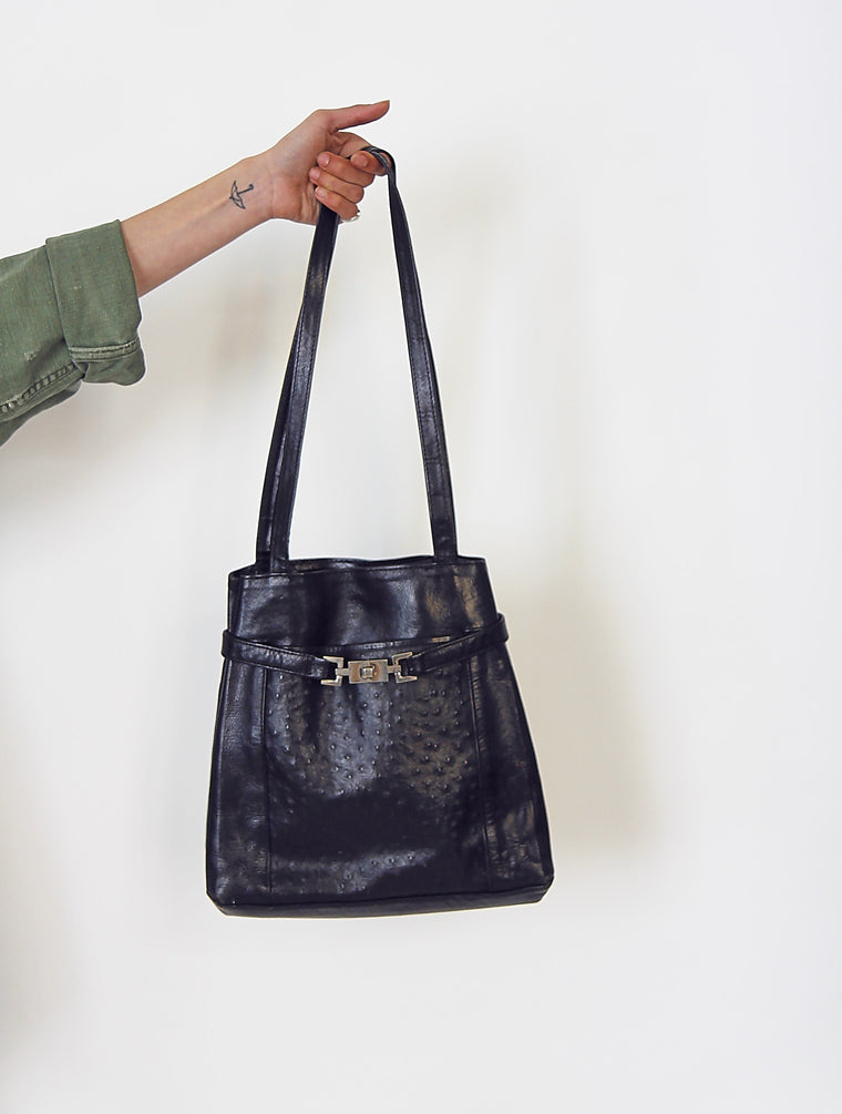 Vintage 90s Black Large Leather Bucket Bag