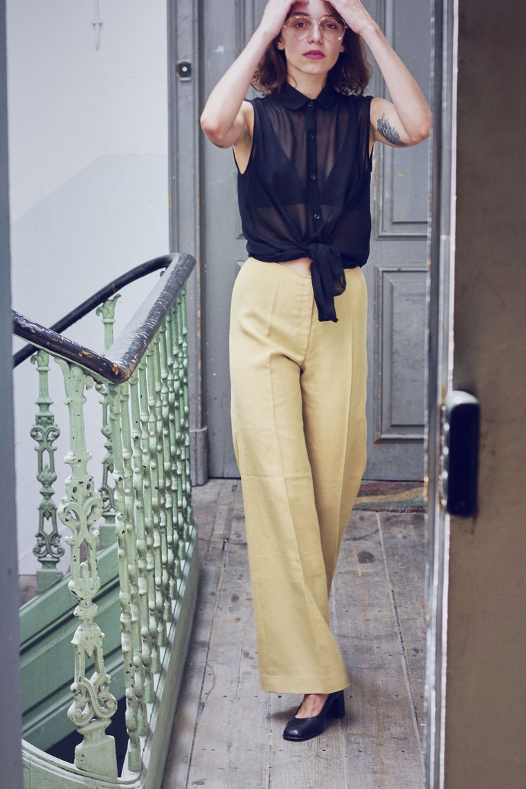 70s Camel High Waisted Flared Trousers