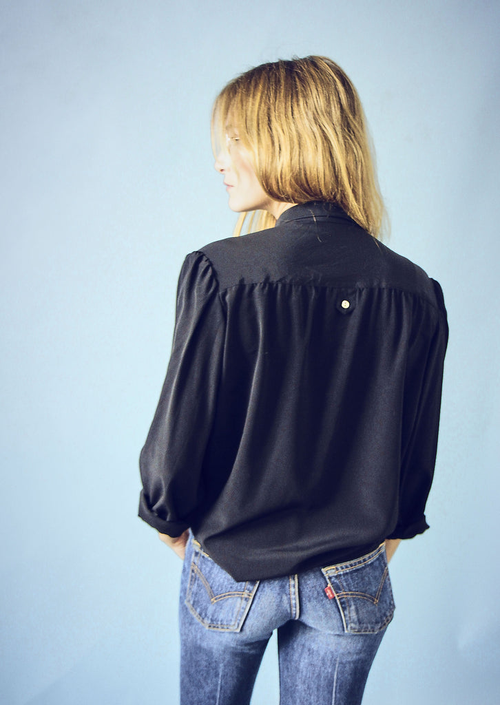 90's Black Silky Button Up Blouse
