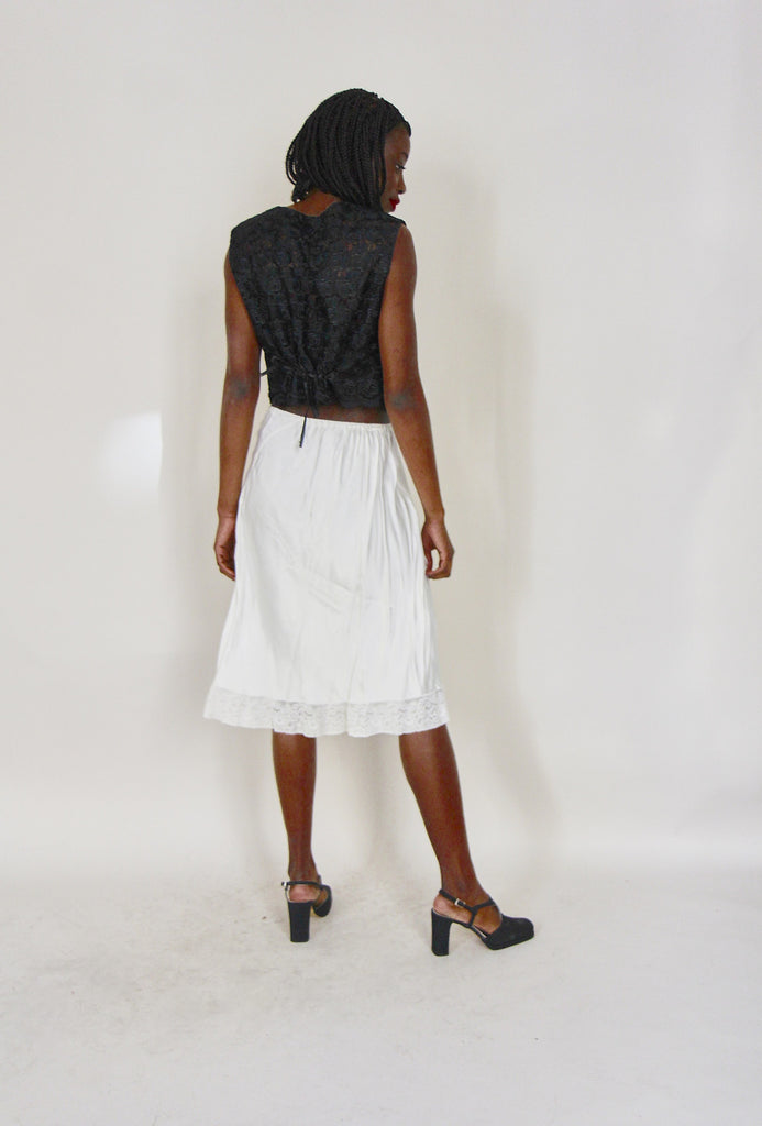 Vintage White Silk and Lace Skirt