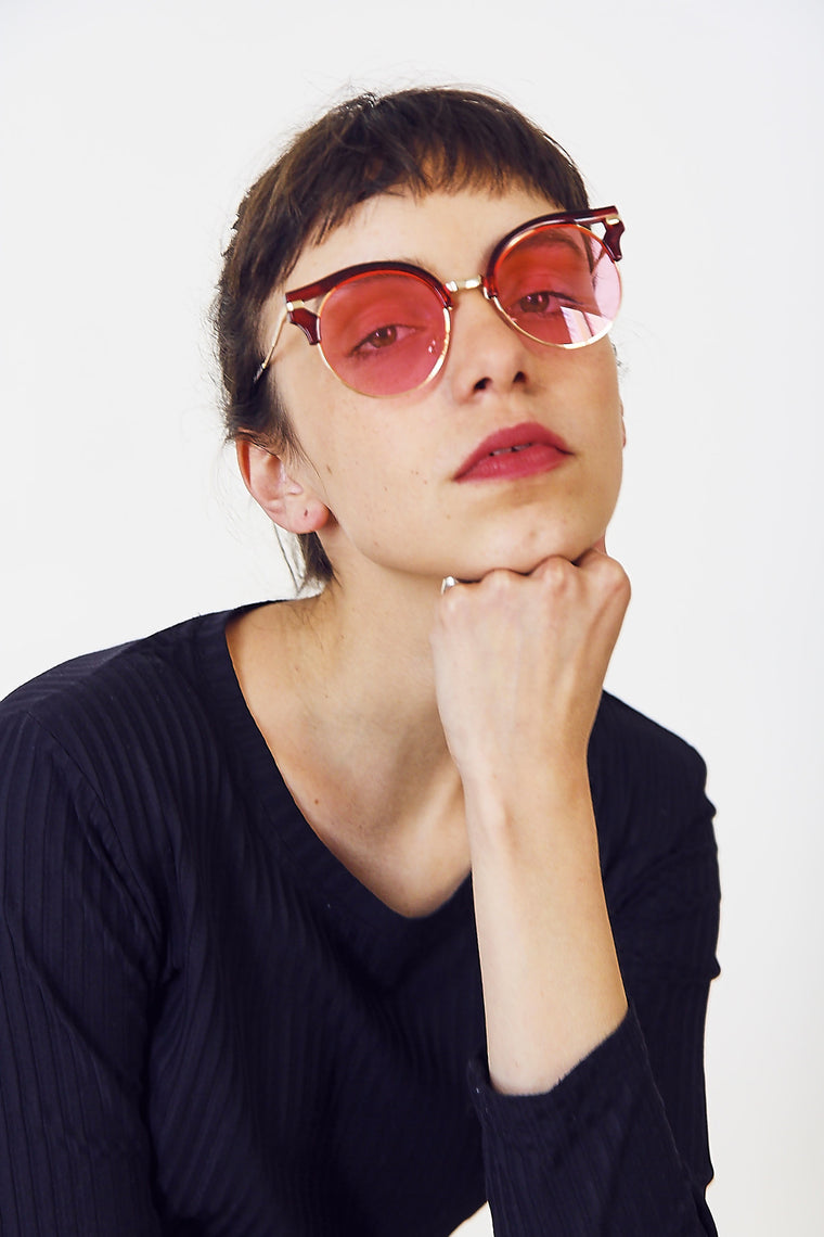 Pink Lens Cut-Out Brow Sunglasses