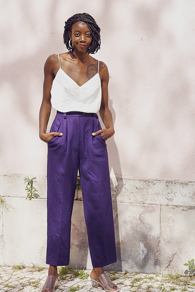 Vintage 80s Tailored Aubergine Wool Trousers