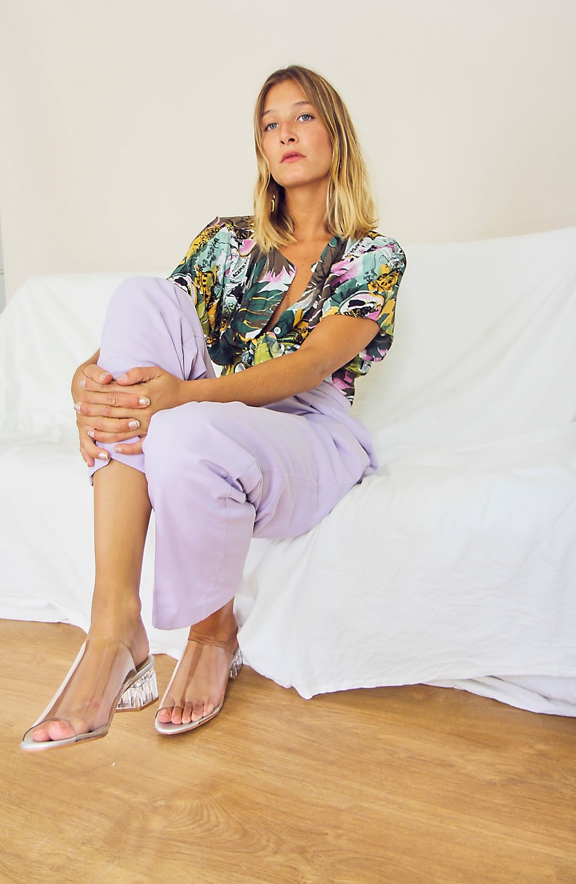 Lilac High-Waisted Tailored Trousers