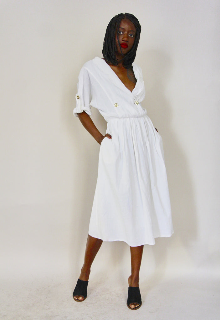 80's White Ruffle Gauze Dress
