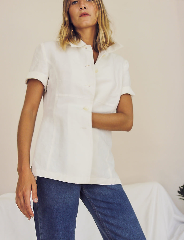 Boxy White Linen Shirt