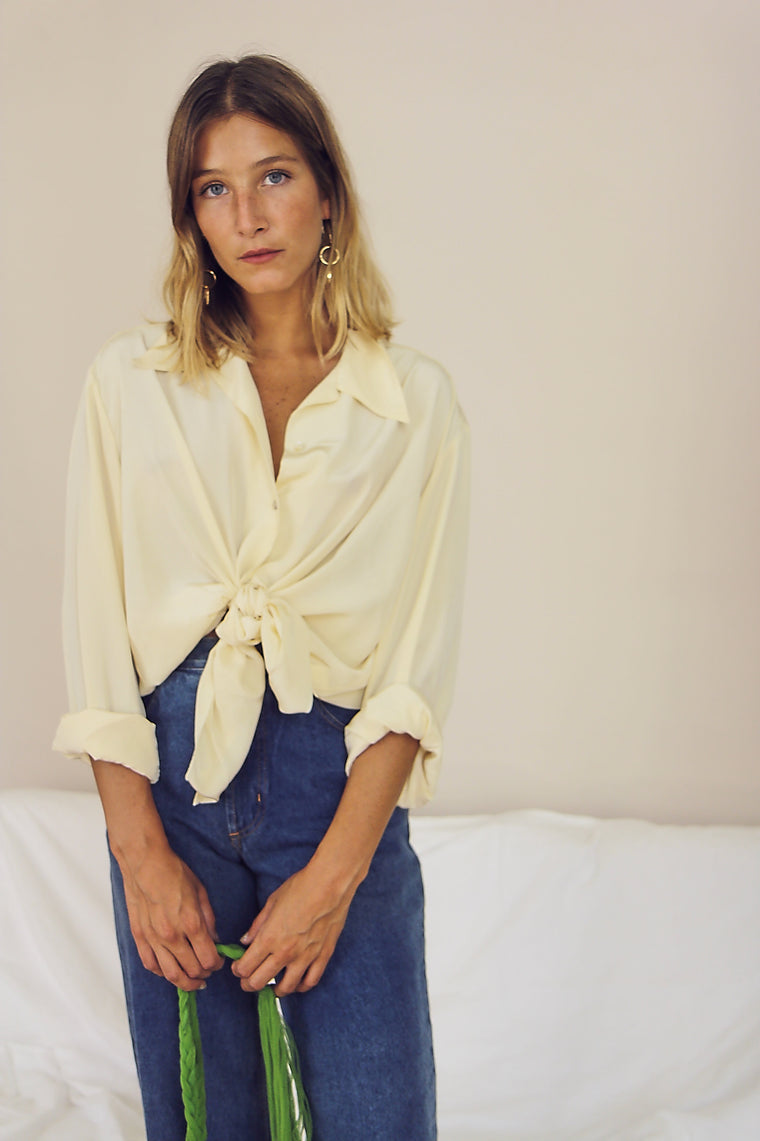 90's Cream Silky Button Up Blouse