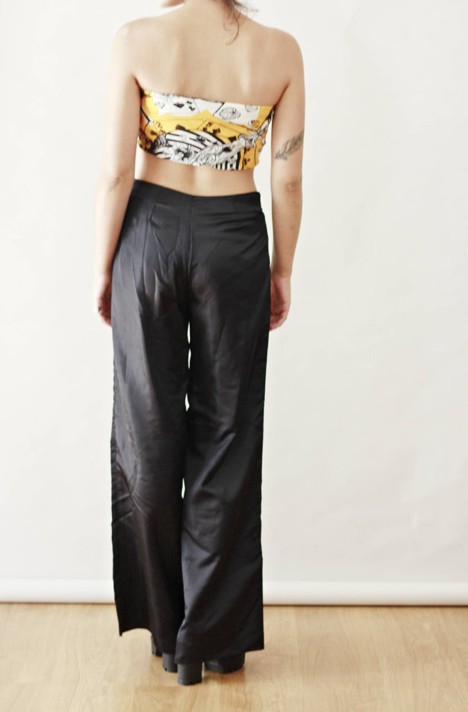 90s Black Kick Flare Silky Trousers