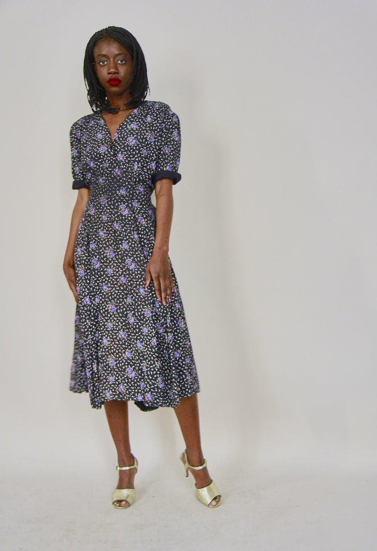 Vintage 40s Style Ditsy Printed Tea Dress