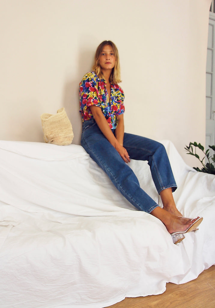 Bright Paint Effect Silk Printed Blouse