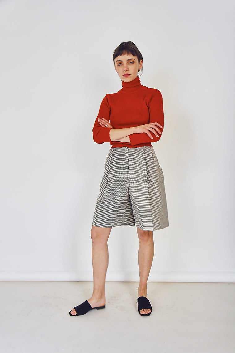 90s Vintage Pleated Hounds Tooth Culottes