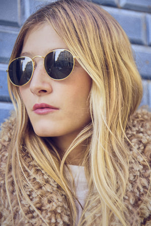 Classic Gold Metal Frame Sunglasses