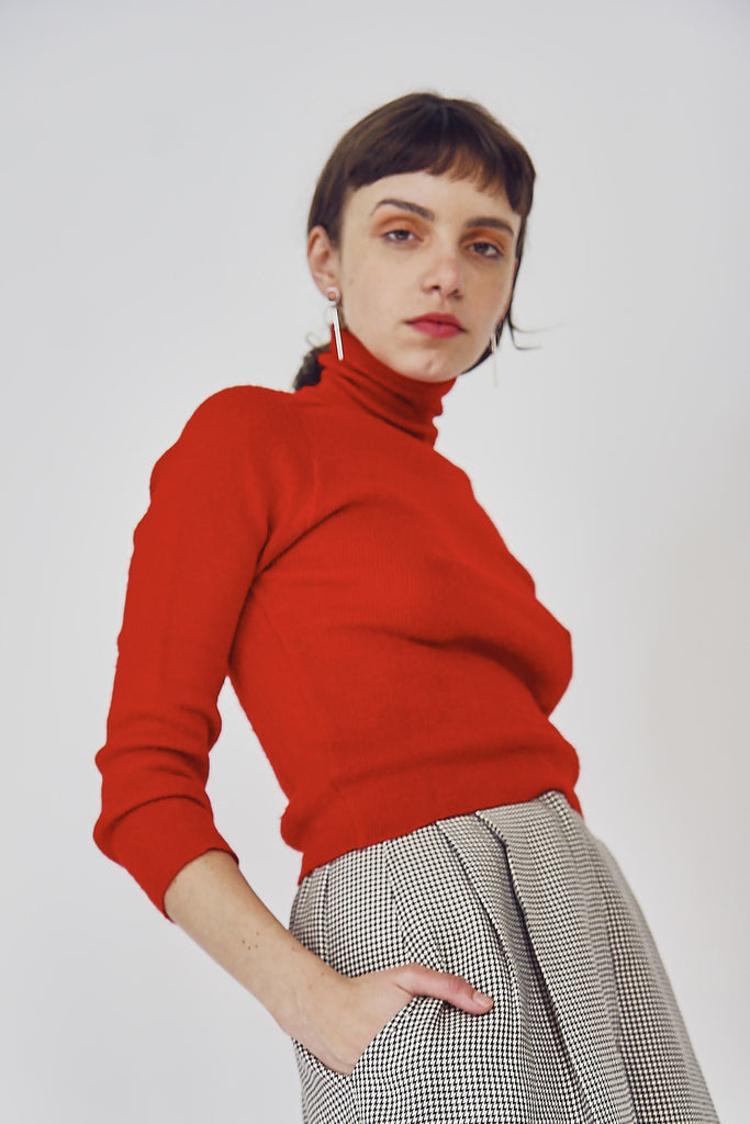 70s Vintage Wool Tomato Red Jumper