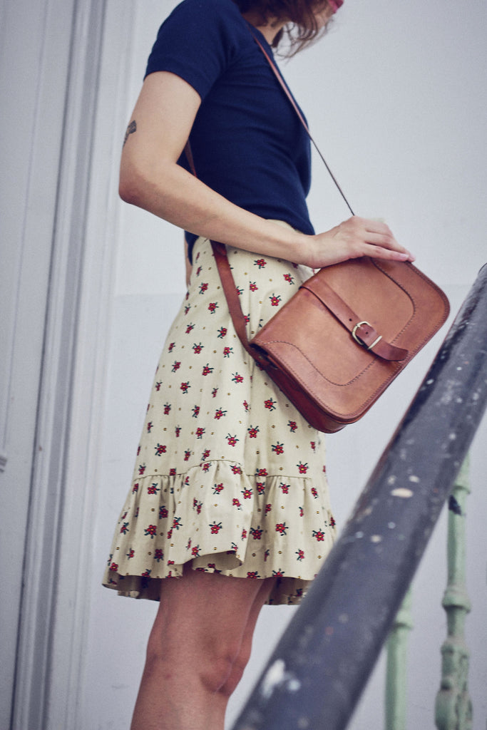 Vintage 70s Tan Leather Satchel