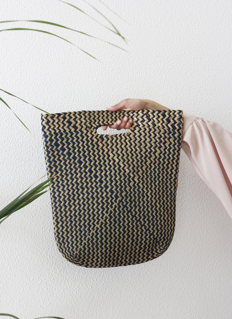 Navy Straw Woven Basket Bag