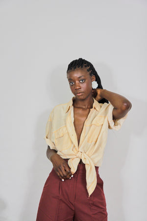Oversized Mustard Silk Shirt