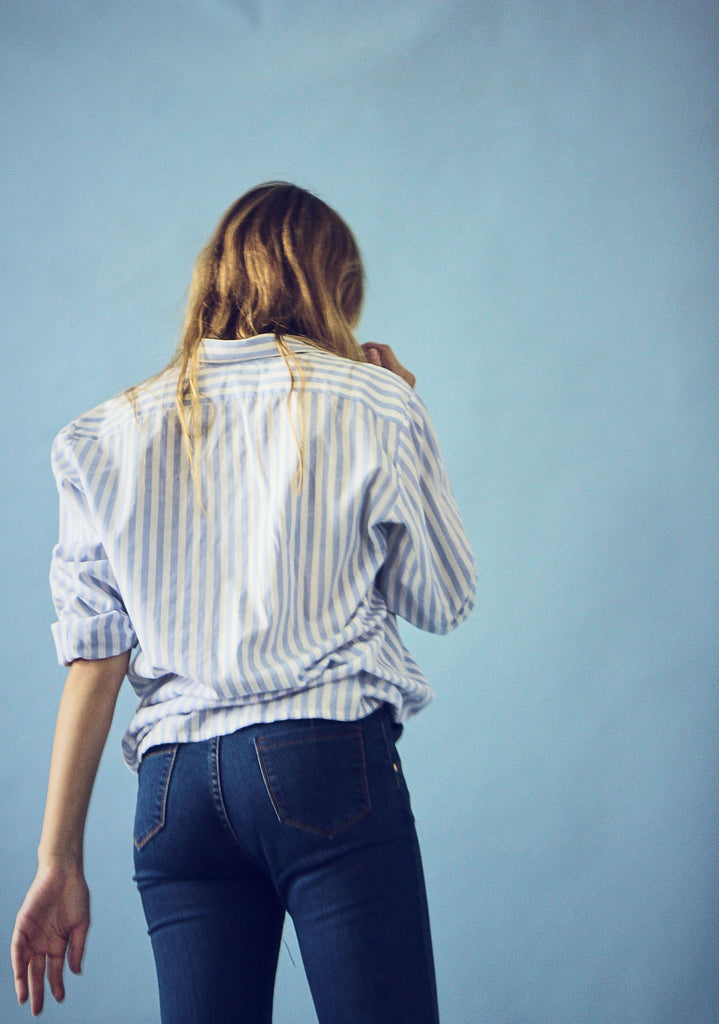Blue and White Cotton Striped Shirt