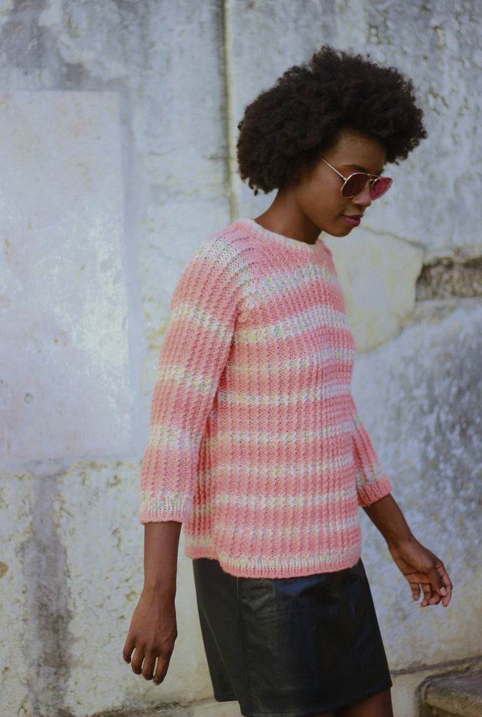 70s Peachy Hand knitted Jumper