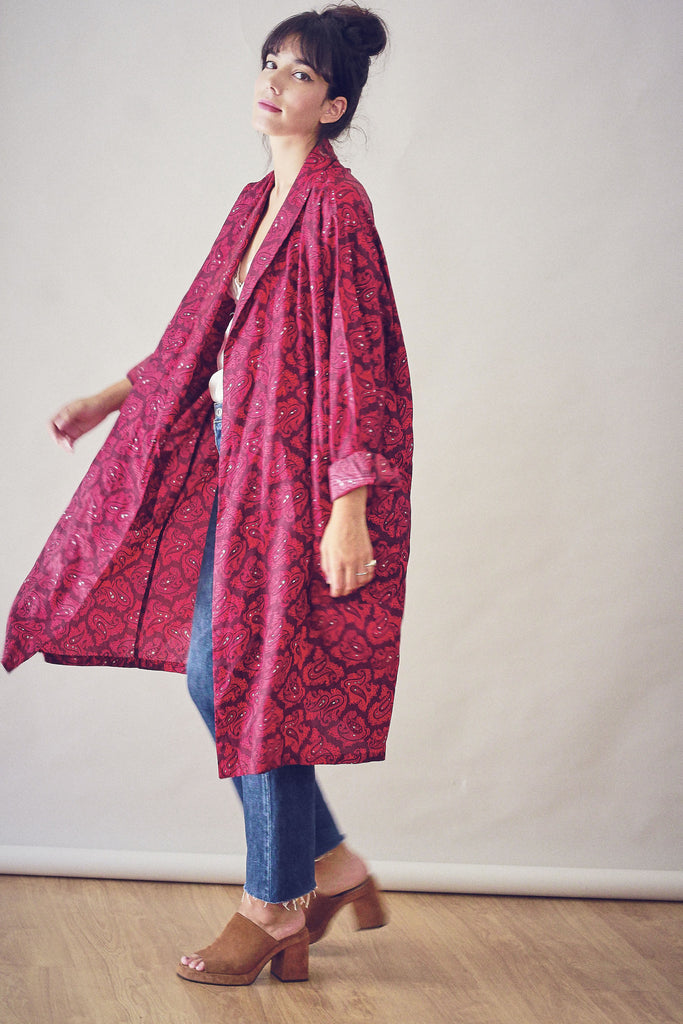 Vintage 90s Printed Duster Jacket
