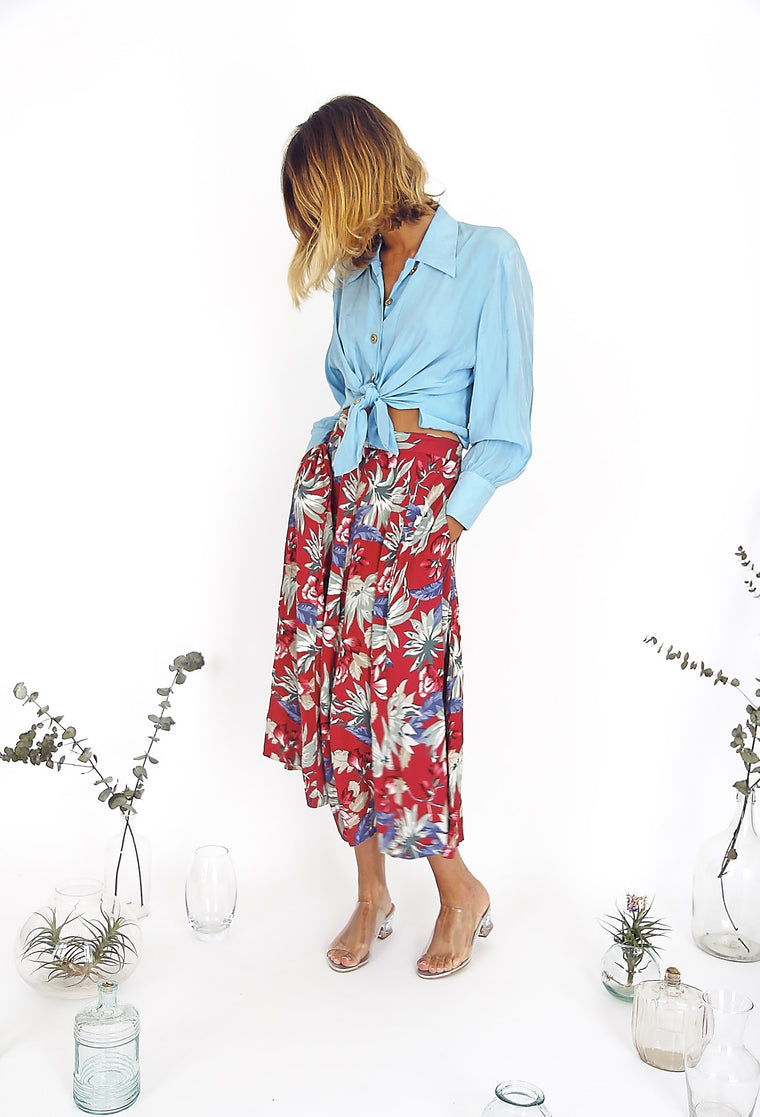 Pretty Summer Floral Midi Skirt
