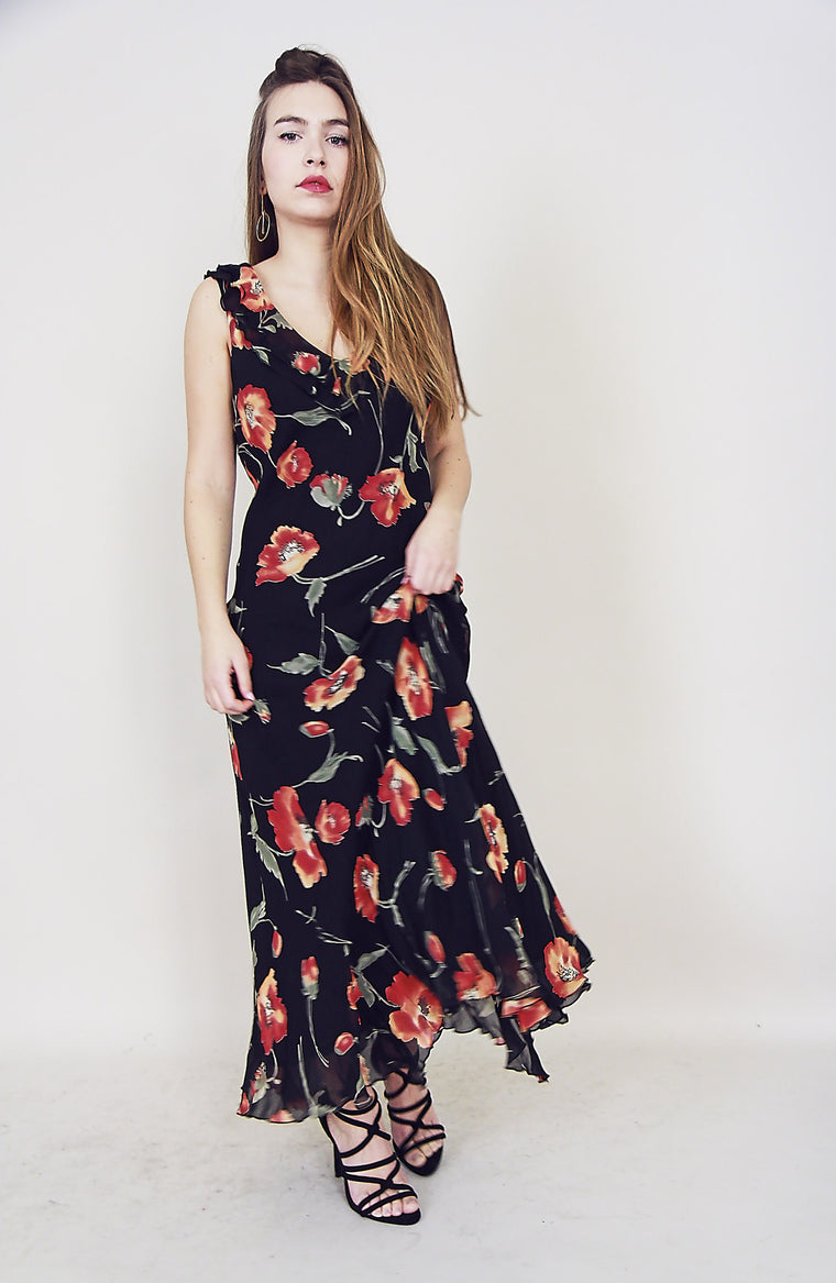Chiffon 90s Floral Bias Dress