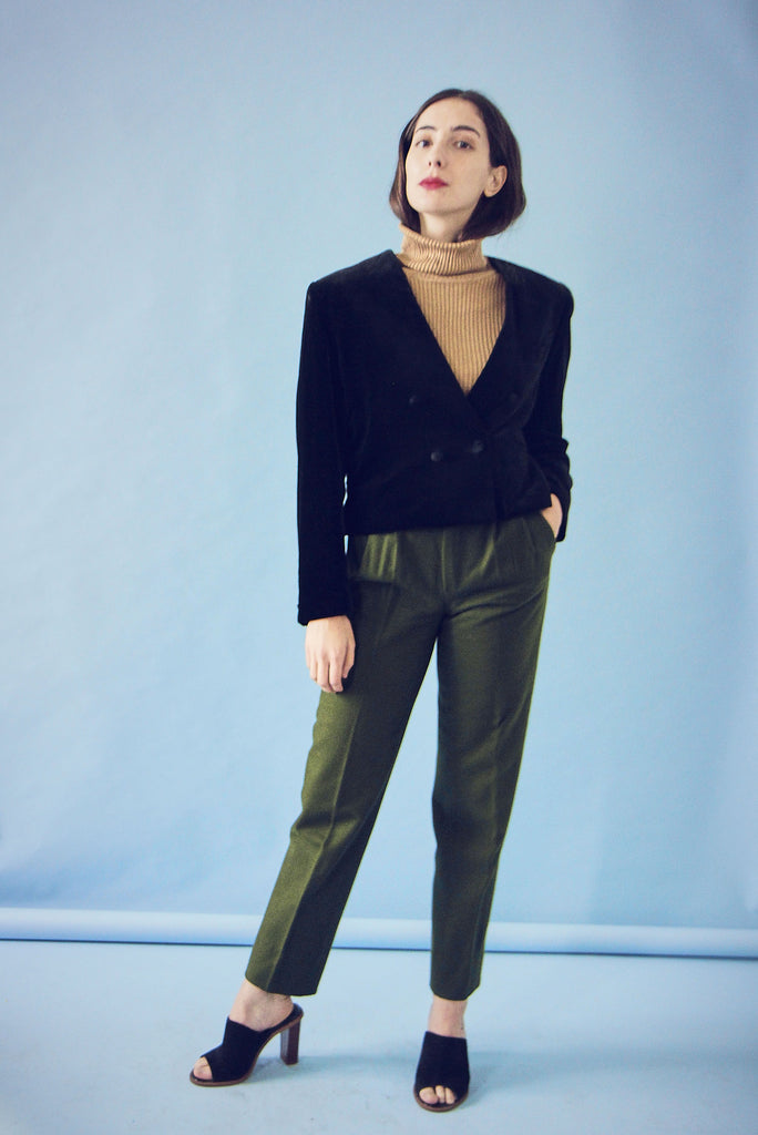 Vintage 70s Olive Tapered Wool Trousers