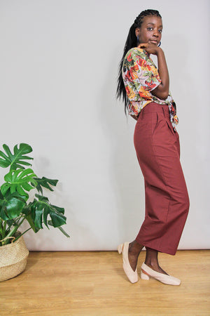 Burgundy High Waist Cotton Tailored Trousers