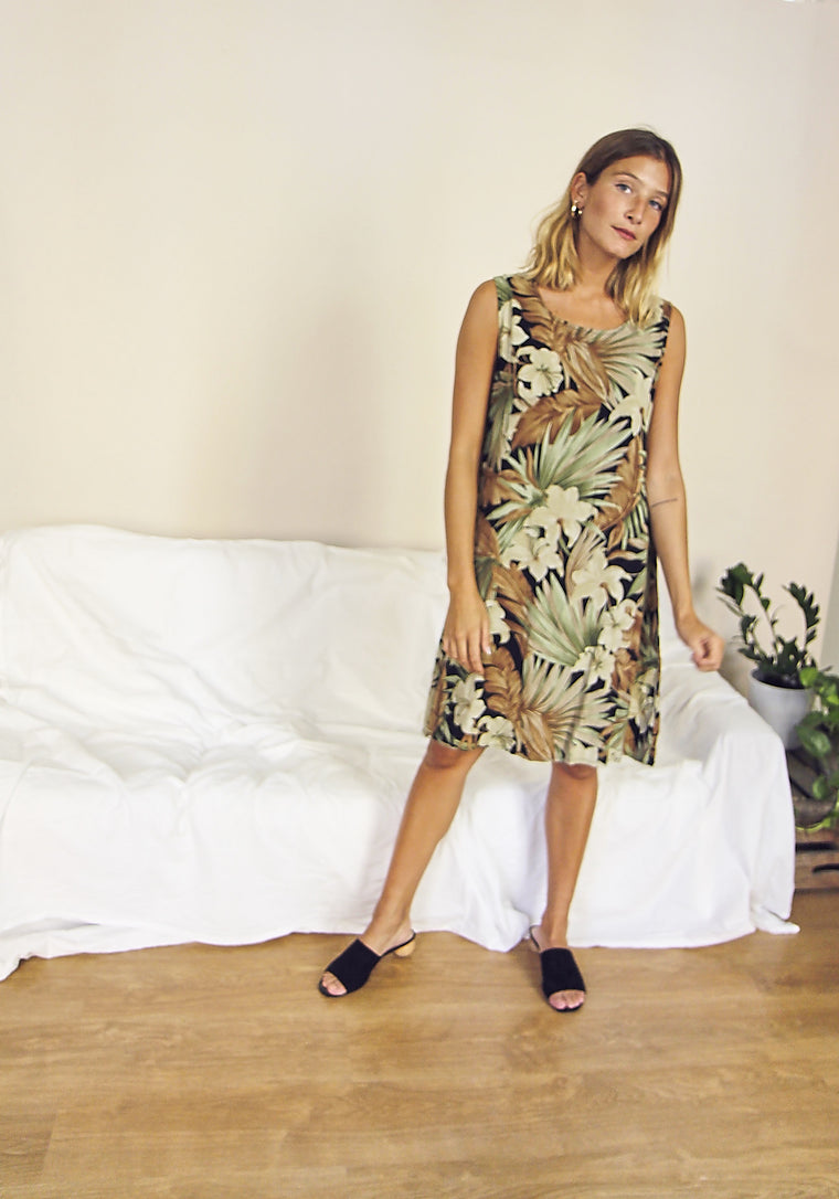 90's Botanical Print Smock Dress.