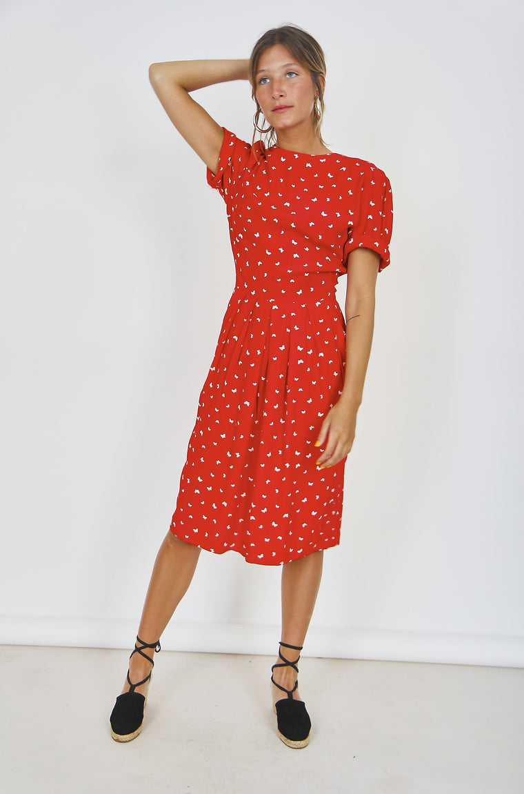 80s Printed Cotton Midi Dress