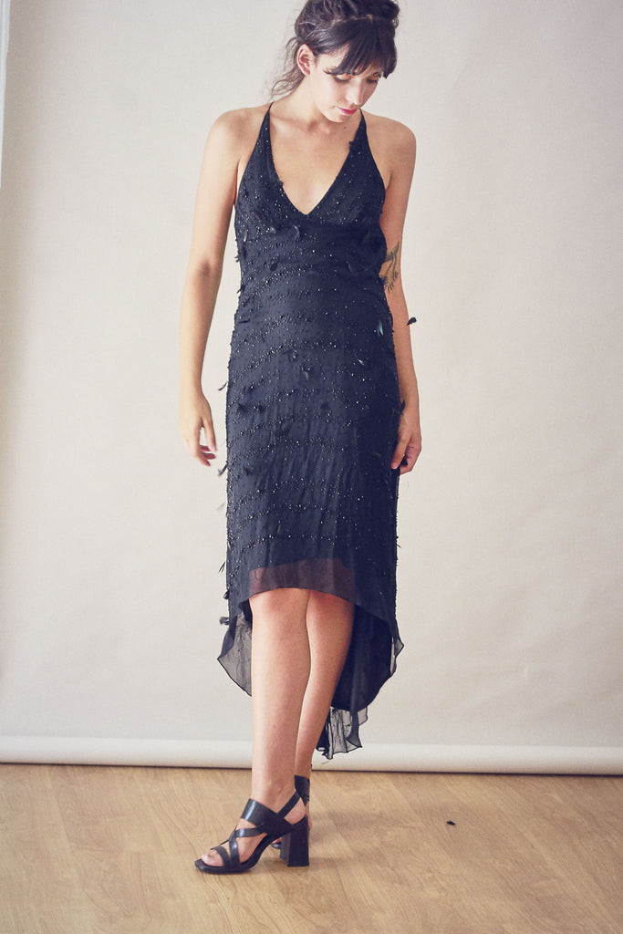 90s Vintage Black Silk Bead and Feather Dress