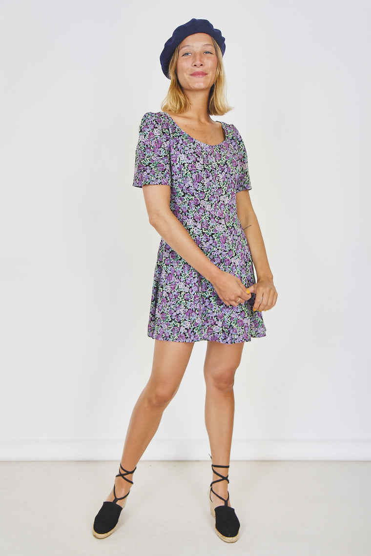 Vintage 90s Ditsy Print Mini Dress